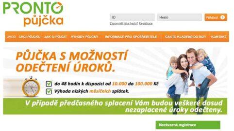 Ukázka webu Pronto Půjčky